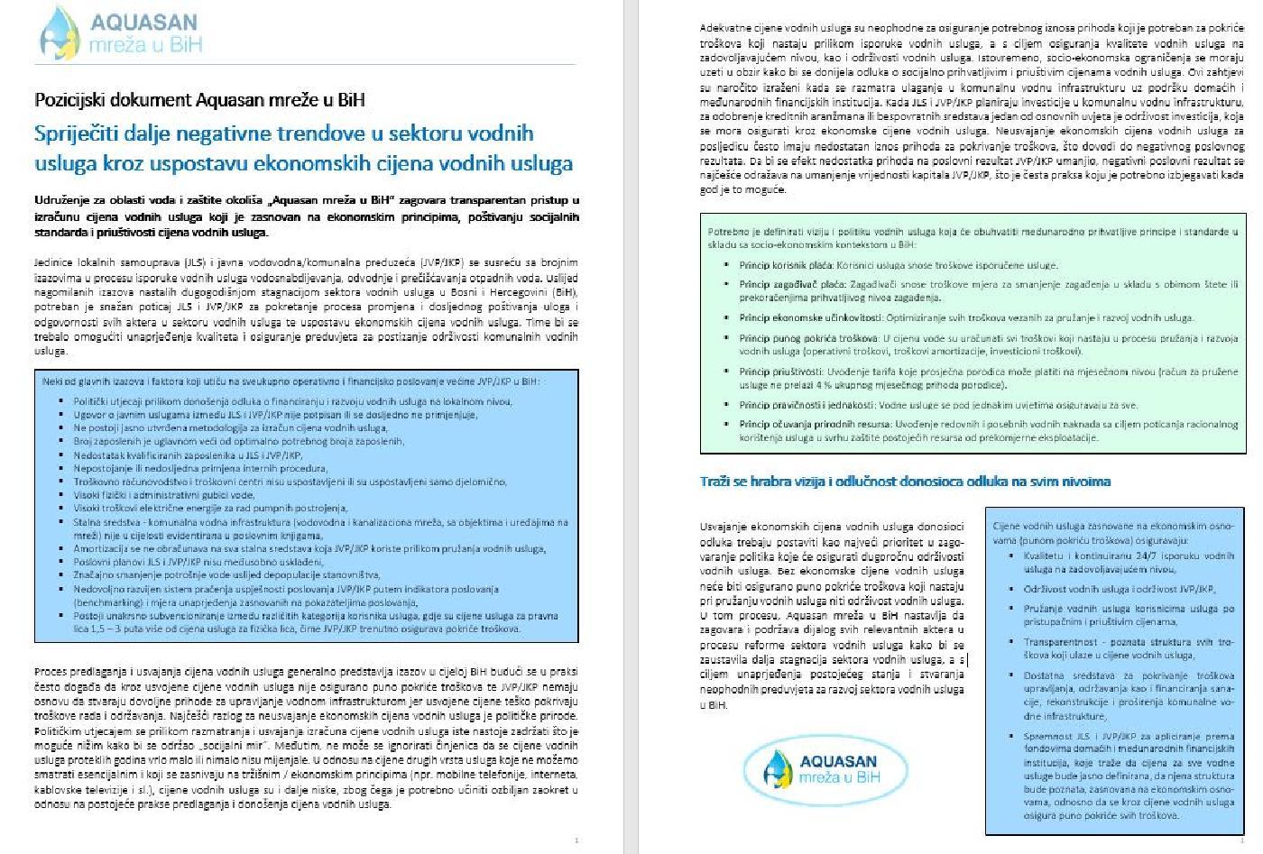 Uspostava ekonomskih cijena vodnih usluga: Pozicijski dokument Aquasan mreže u BiH