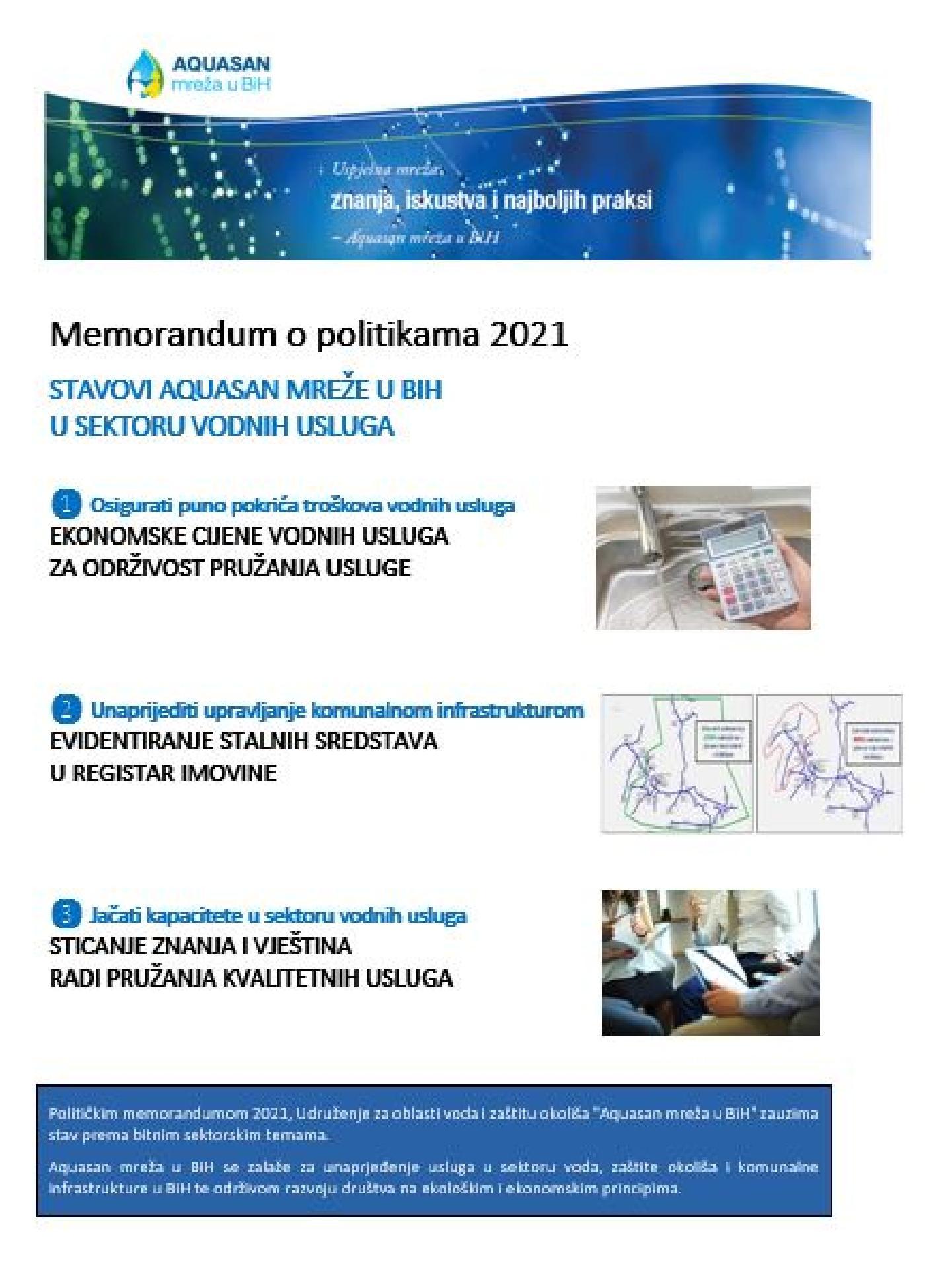 Memorandum o politikama 2021: Stavovi Aquasan mreže u BiH u sektoru vodnih usluga