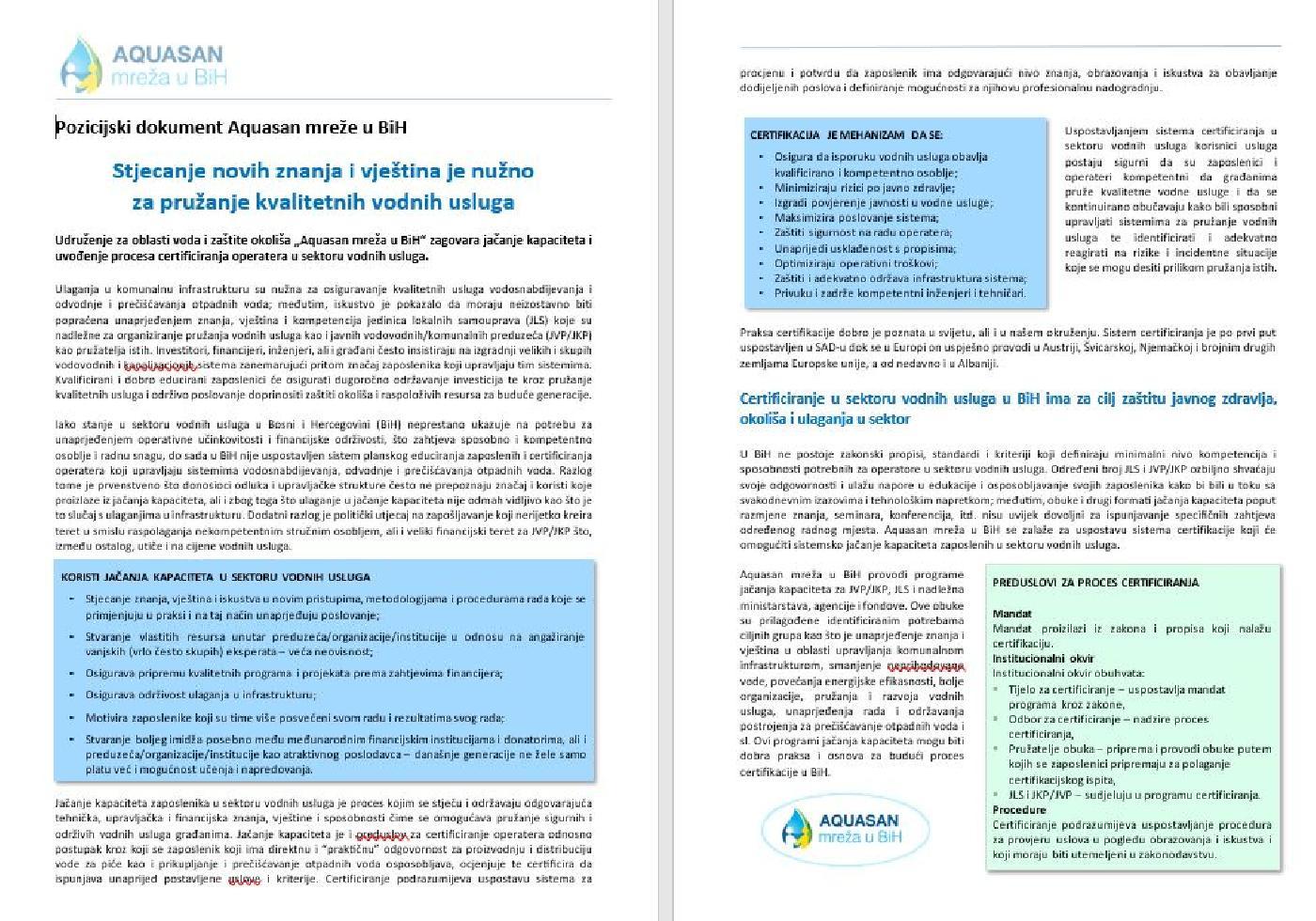 Stjecanje novih znanja i vještina je nužno za pružanje kvalitetnih vodnih usluga - Pozicijski dokument Aquasan mreže u BiH